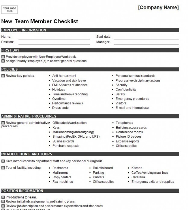 Sample New Hire Checklist Template Onboarding Template New Hire