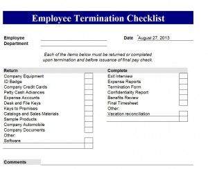 Filling Out The Microsoft Employee Termination Checklist Template