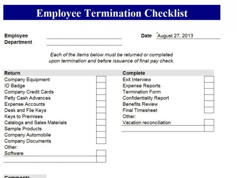 Employee Termination Template – Employment Termination Form Template