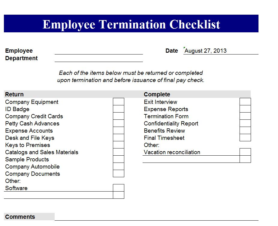 Employee termination form – Termination Template Form