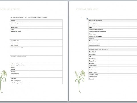 Funeral Planning Worksheet Pictures to Pin PinsDaddy – Funeral Checklist Template