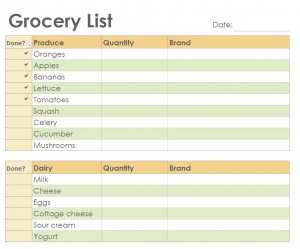 Free Grocery Checklist