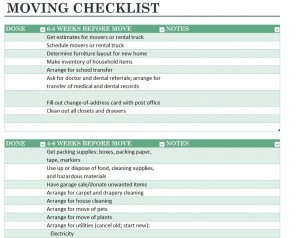 Free Home Moving Checklist