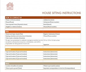 House Sitting Checklist