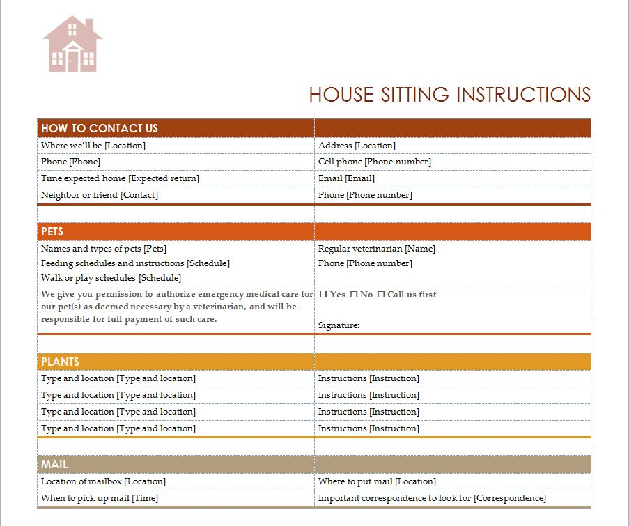 House sitting checklist house sitter checklist for House siting