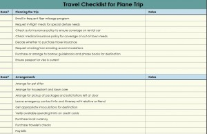 travel checklist travel checklist template
