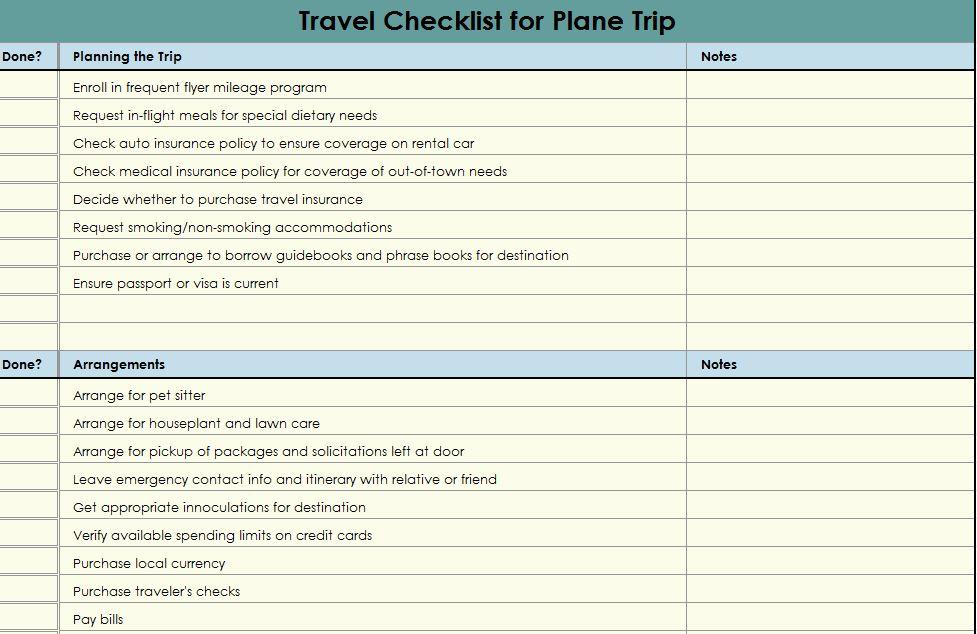 travel checklist travel checklist template. Black Bedroom Furniture Sets. Home Design Ideas