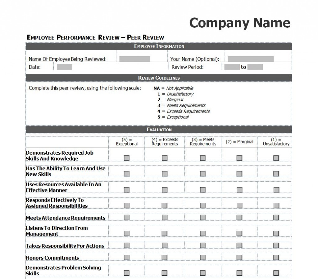 Doc.#607787: Staff Review Templates – Free Employee Performance ...