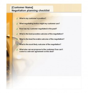 Free Negotiation Planning Checklist
