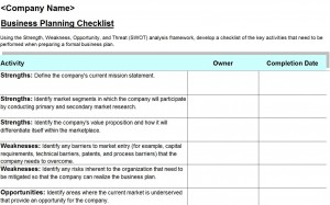 Free SWOT Analysis Checklist