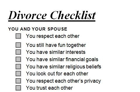 Divorce Checklist