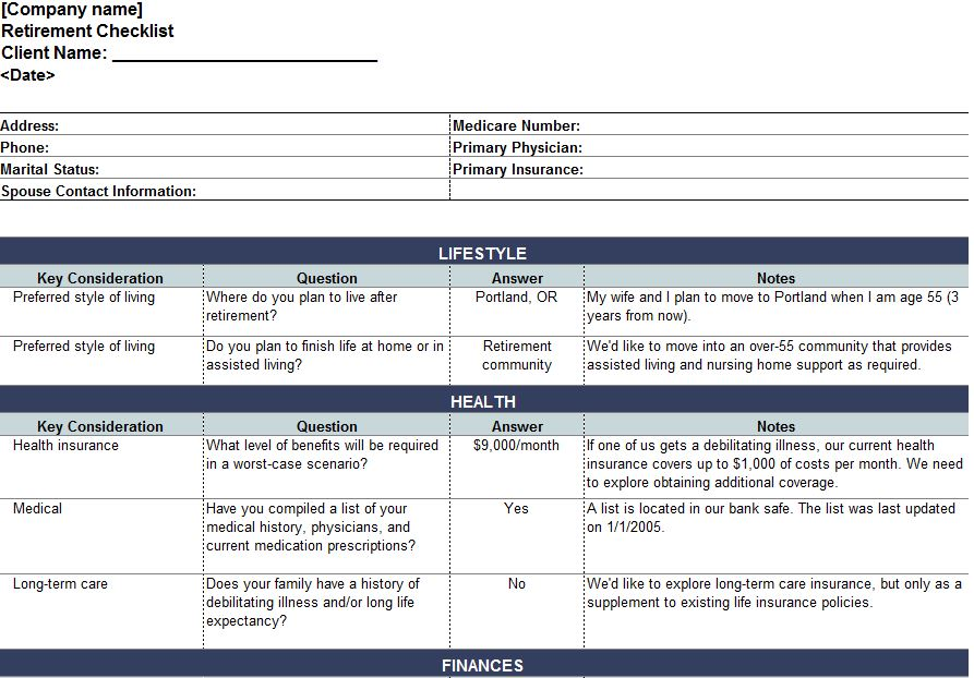 estate planning template excel
