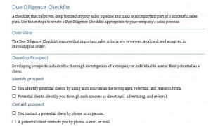 Free Financial Due Diligence Checklist