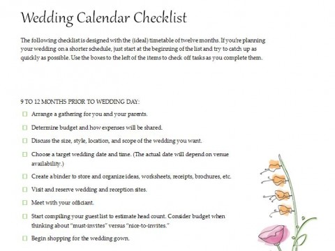 Free Planning a Wedding Checklist