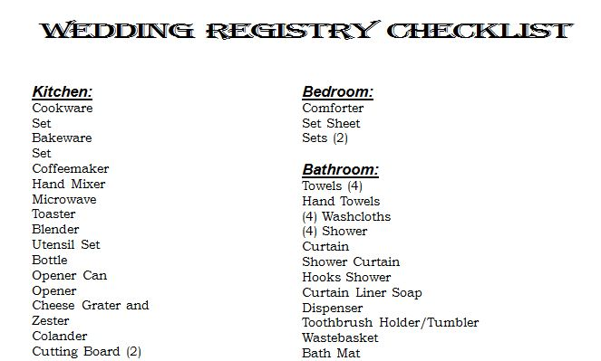 Example Wedding Registry List