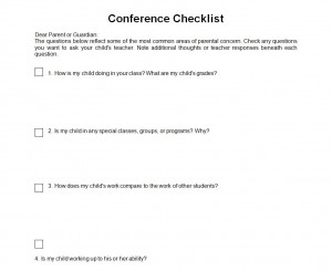 Parent Teacher Conference Checklist Free