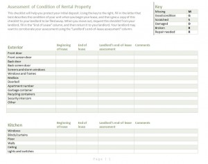 Rental Checklist Free