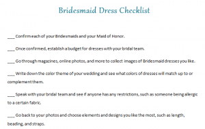 Bridesmaid Dress Checklist