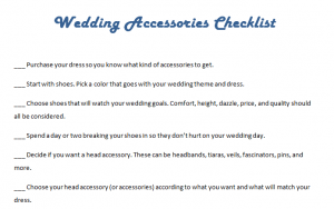 Wedding Accessories Checklist
