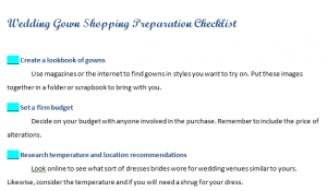 Wedding Gown Shopping Preparation Checklist