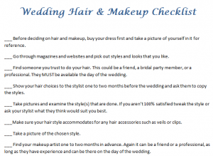 Wedding Hair & Makeup Checklist