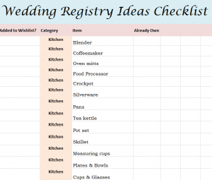 Wedding Registry Ideas Checklist