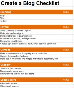 Create a Blog Checklist