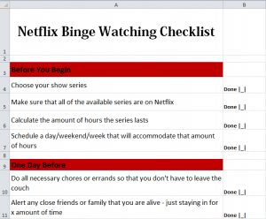 Netflix Binge Watching Checklist