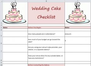 Cake Decorating Checklist : wedding planner: Wedding Checklists Beginning To End