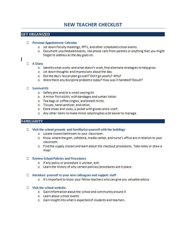 New Teacher Checklist