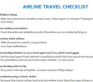 Airline Travel Checklist