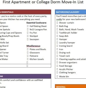 First Apartment Move Checklist