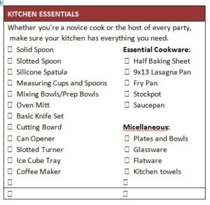 First Apartment or College Checklist