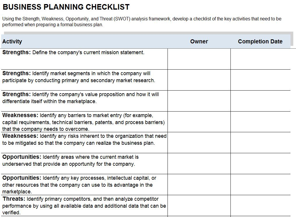 Business plan checklist template flashek Gallery