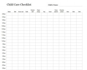 Free Child Care Checklist
