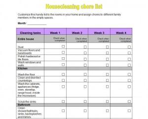 Free Housework Checklist