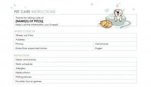 Pet Sitter Checklist Pet Sitter Checklist Template