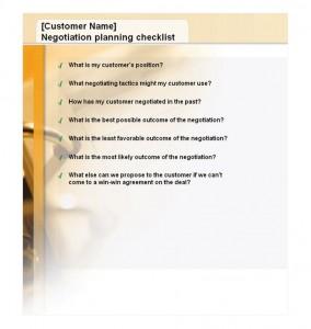 Free Negotiation Planning Checklist