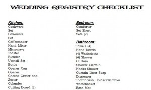 Free Wedding Registry Checklist
