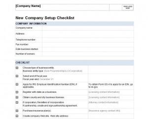 New Company Checklist Free