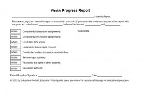 Progress Report Checklist Free