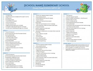 School Supply Checklist Free