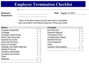 Termination Checklist Free