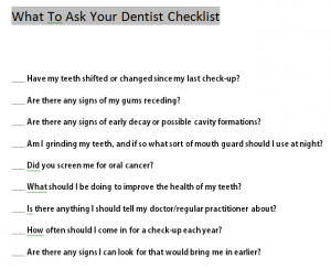 What To Ask Your Dentist Checklist