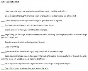 Attic Setup Checklist