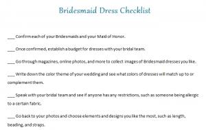 Bridesmaid Dress Checklist