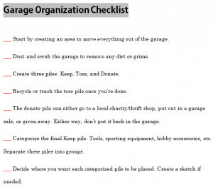Garage Organization Checklist