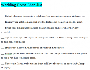 Tips For Your Wedding Dress Checklist