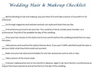 Wedding Hair & Makeup Checklist