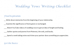 Wedding Vows Writing Checklist